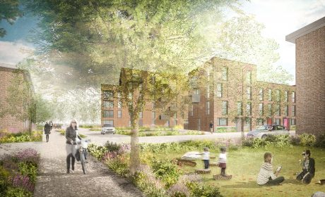 Shared green space by affordable homes in Redbridge London