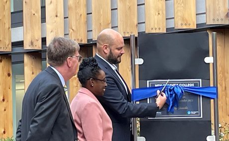 Mayor of Hackney cuts the blue ribbon at opening of New Regents College